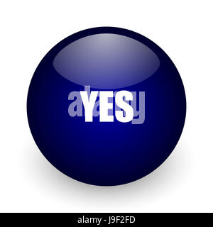Yes blue glossy ball web icon on white background. Round 3d render button. - Stock Photo
