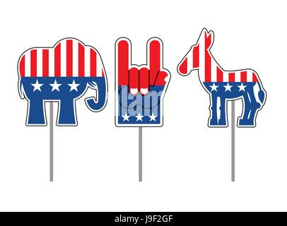 Elections In Usa Concept With Donkey And Elephant Stock Photo