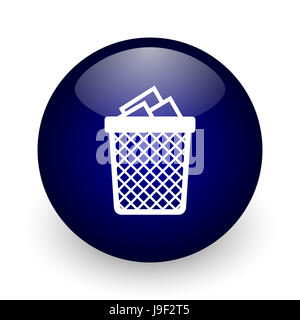 Trash can blue glossy ball web icon on white background. Round 3d render button. - Stock Photo