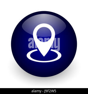 Pointer blue glossy ball web icon on white background. Round 3d render button. - Stock Photo