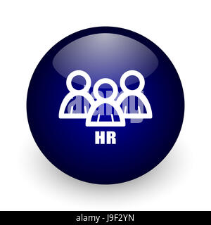 HR blue glossy ball web icon on white background. Round 3d render button. - Stock Photo