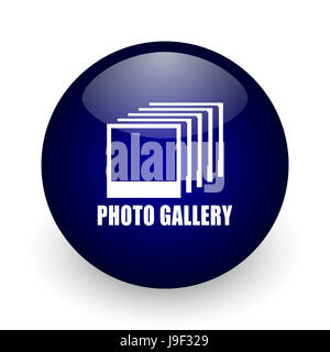 Photo gallery blue glossy ball web icon on white background. Round 3d render button. - Stock Photo