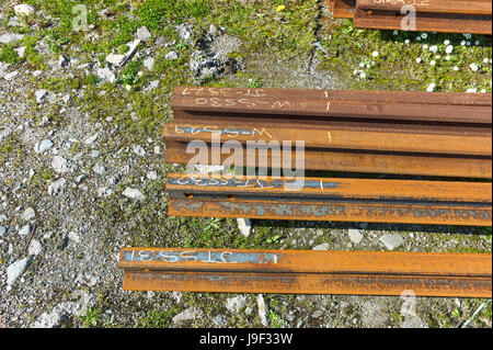 Metal railway lines for electric trains in Douglas, Isle of Man - Stock Photo