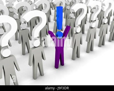 One man with exclamation mark and a lot of men with question marks. Concept 3D illustration. - Stock Photo