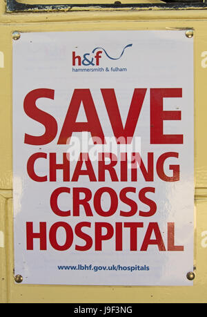 save charing cross hospital poster, issued by the london borough of hammersmith and fulham to oppose the projected - Stock Photo