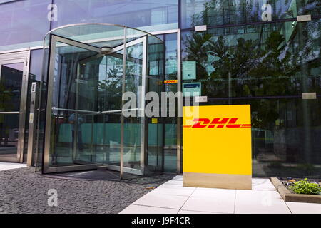 PRAGUE, CZECH REPUBLIC - MAY 22: DHL logistics company logo on the headquarters building on May 22, 2017 in Prague, - Stock Photo
