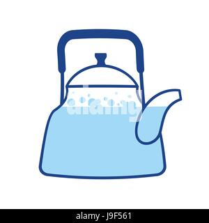 Kettle boiling wate. Teapot isolated. Kitchen utensils. Crockery on white background - Stock Photo