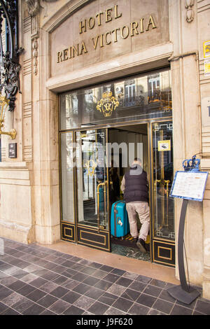 The One Shot Palacio Reina Victoria Hotel is conveniently located near Plaza del Ayuntamiento, in Valencia, Spain. - Stock Photo