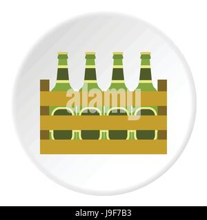 Beer bottles in wooden box icon, flat style - Stock Photo