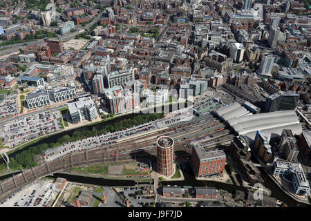 aerial view of Leeds city centre from above the railway station looking north, UK - Stock Photo
