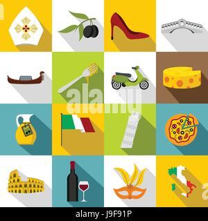 Italia icons set, flat style - Stock Photo