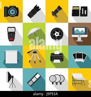 Photo studio icons set, flat style - Stock Photo