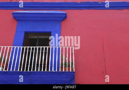 Small balcony in the historic city of Oaxaca, Mexico - Stock Photo