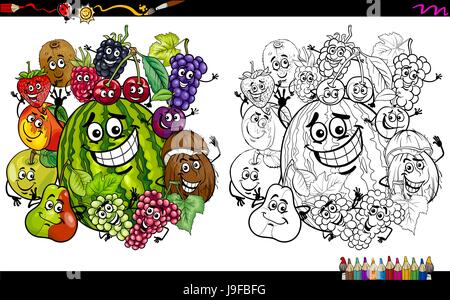 Cartoon Illustration Of Happy Fruit Characters Group Coloring Page Activity