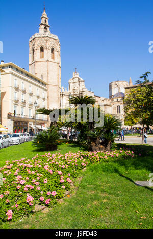 Viewed from Plaza de la Reina, the Gothic-style Bell tower or Micalet, fronts the Valencia Cathedral, Valencia, - Stock Photo