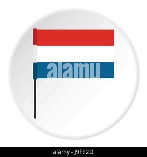 Flag of Netherlands icon, flat style - Stock Photo