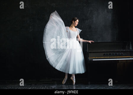 Young and incredibly beautiful ballerina is posing in a black studio - Stock Photo