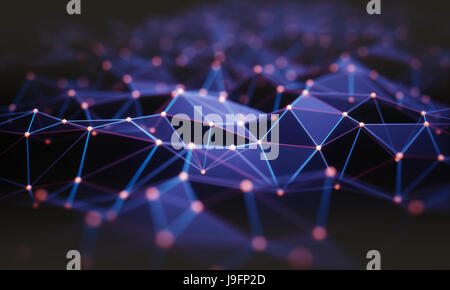 3D illustration. Abstract background, connection and lines of technology. - Stock Photo