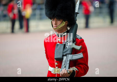 LONDON - JUNE 13, 2015: Royal guard in traditional red coat and bear fur busby hat stands on the Mall with rifle - Stock Photo