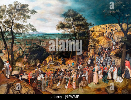 The Road to Calvary by Pieter Brueghel the Younger (1564-1638), 1606 - Stock Photo