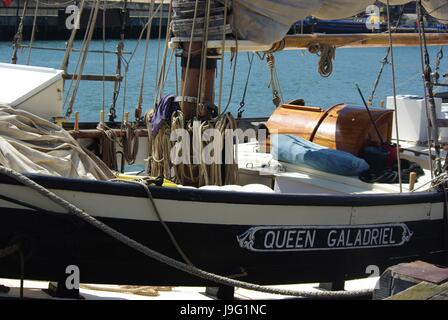 Queen Galadriel, a Baltic Trader vessel, was built in 1937 in Svenborg, Denmark. She is moored at Poole Quay as - Stock Photo