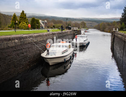 Charter boats going though Cullochy lock, lock keeper handling ropes - Stock Photo