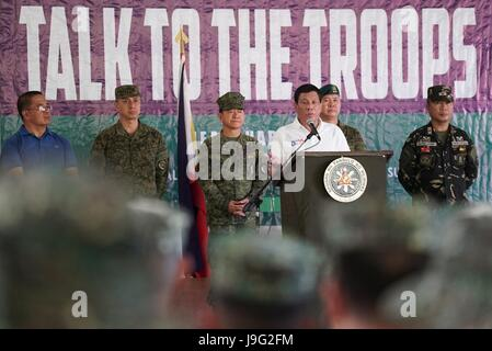 Philippine President Rodrigo Duterte addresses soldiers with Joint Task Force Sulu at Camp Teodulfo Bautista May - Stock Photo