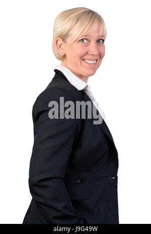 portrait of a self confident business woman in jacket and shirt - Stock Photo