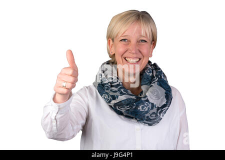 optimistic blonde european woman gives thumbs up and smiles - Stock Photo