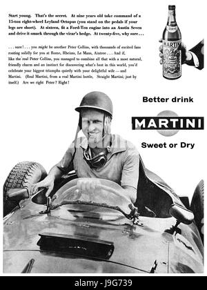1957 British advertisement for Martini Vermouth, featuring Formula 1 racing driver Peter Collins. Collins died the - Stock Photo