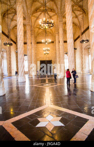 The Lonja de la Seda (Silk Exchange) is a late Gothic style civil building built between 1482-1548.  Seen is the - Stock Photo