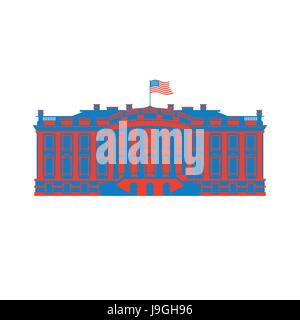 White House America colored icon. Residence of President USA. US government building. American political character. - Stock Photo