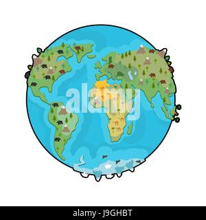 A happy cartoon planet Earth with a flower Stock Vector Art