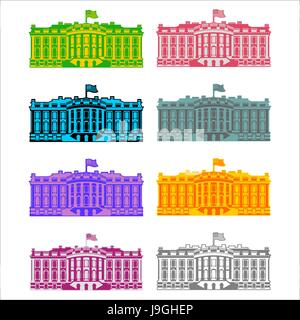 White House America colored icon set. Residence of President USA. US government building. American political character. - Stock Photo