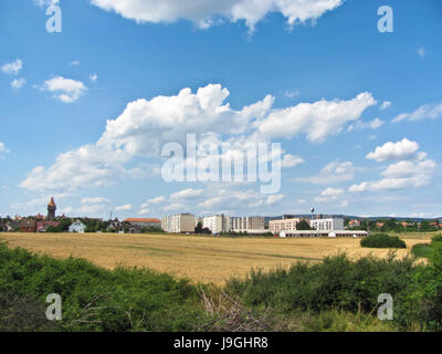 View of the small city from window of train - Stock Photo
