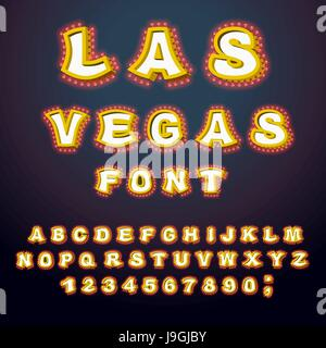 Las Vegas font. Glowing lamp letters. Retro Alphabet with lamps. Vintage show ABC with light bulb. Glittering lights - Stock Photo