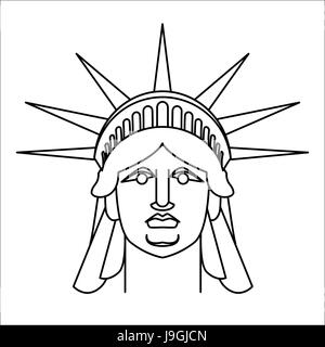 Head of Statue of Liberty  Linear style. Face sculpture America. Monument in US architecture. National Historic - Stock Photo
