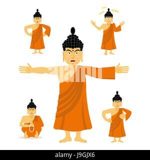 monk in meditation silhouette vector illustration stock