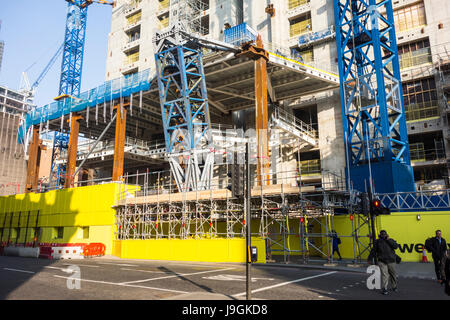 Construction work at 100 Bishopsgate development skyscraper tower by Allies and Morrison  & Woods Bagot, City of - Stock Photo