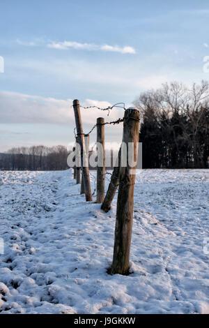 Landscape near Kaufbeuren, Allgäu in winter. - Stock Photo