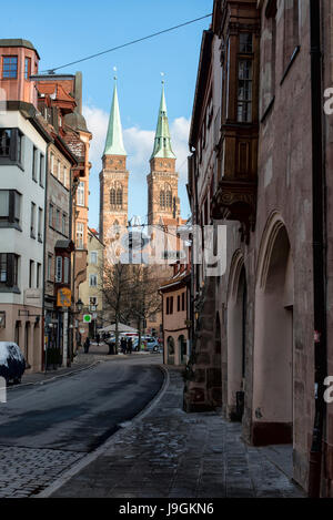 Irrerstraße and St. Sebaldus church in Nuremberg, Germany - Stock Photo