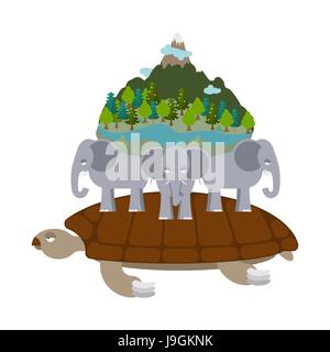 Mythological planet earth. turtle carrying elephants. Ancient representation of world - Stock Photo