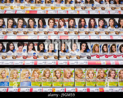 Garnier and Clairol hair products in UK supermarket - Stock Photo