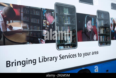 Mobile library service operated by local council authorities. UK - Stock Photo