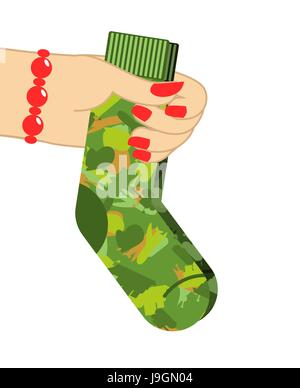 February 23. Female hand to give socks. Traditional gift for military holiday in Russia. defenders of Fatherland - Stock Photo