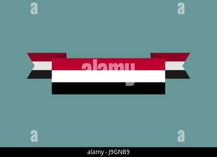 Yemen flag ribbon isolated. Yemeni tape banner. National symbol of ountrys public - Stock Photo