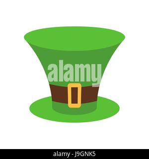 Leprechaun Hat green isolated. National Irish retro cap for dwarf. Illustration for St. Patricks Day. Holiday in - Stock Photo