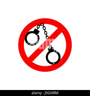 Stop police. handcuffs Prohibited sign. Ban cop - Stock Photo