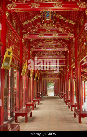 Corridor in the Forbidden Purple City, historic Hue Citadel (Imperial City), Hue, North Central Coast, Vietnam - Stock Photo