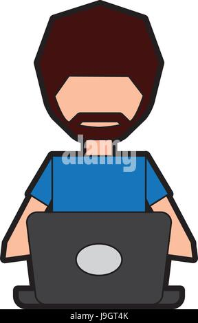 man faceless cartoon - Stock Photo